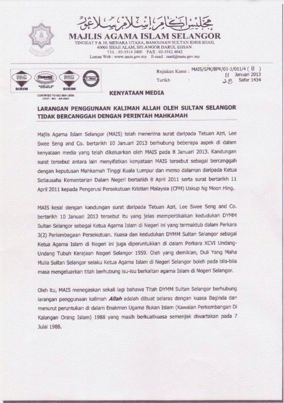 Beschluss des Islamischen Rats von Selangor am 11.01.2013