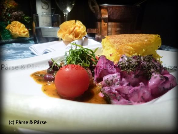Qarmaj Sabzi an rote Beete Joghurt mit Safran-Kate Reis 03