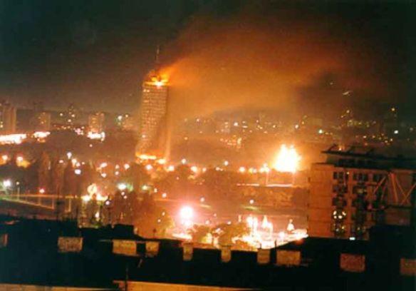 Belgrad während eines Bombenangriffs