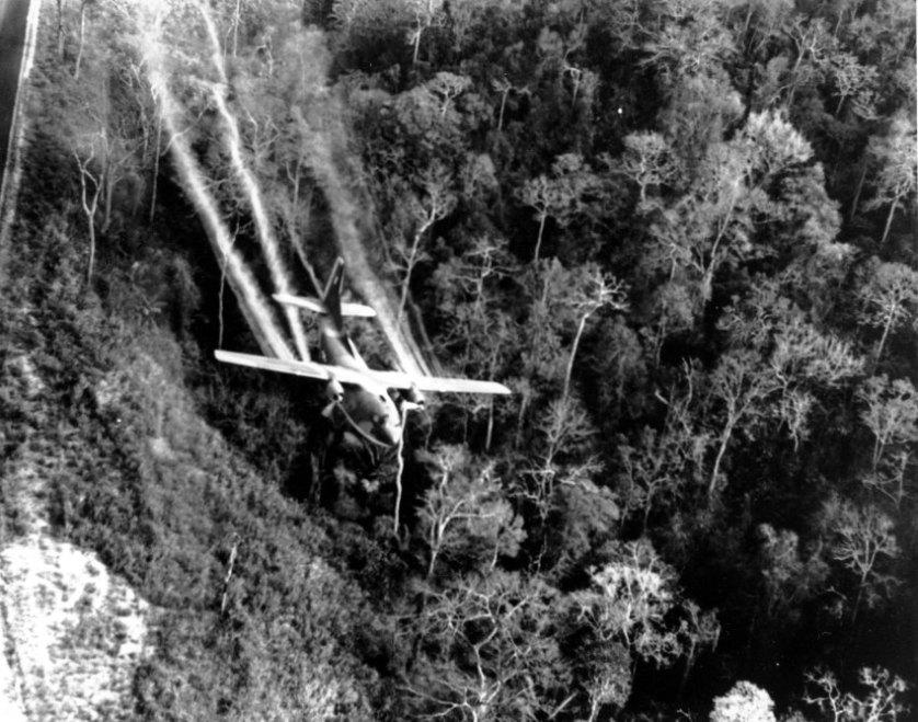 """Bildquelle: AP/ DoD US-Einheiten setzen Entlaubungsmittel ein, um die Verstecke des Feindes im dichten Dschungel aufzuspüren. Der als """"Agent Orange"""" bekannte Wirkstoff sorgt bis heute bei vielen Kindern in Vietnam zu schweren Fehlbildungen und Krebserkrankungen."""