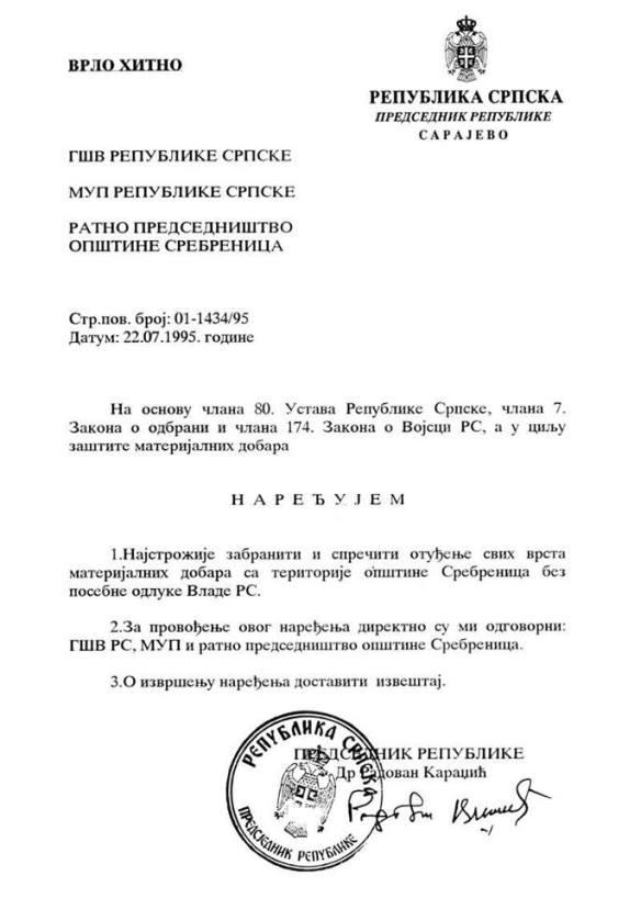 Befehl vom 22.07.1995 von Radovan Karadžić