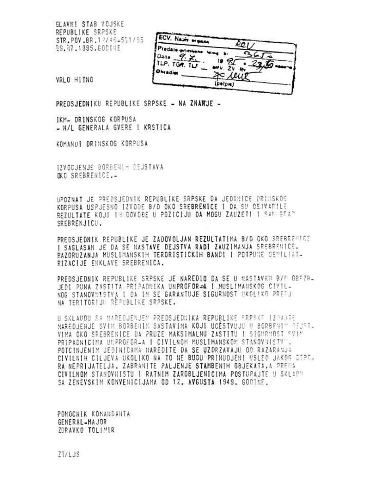 Eindeutige Anweisungen vom 09.07.1995 von Generalmajor Zdravko Tolimir an die die Generäle des Drina-Korps Milan Gvero und Radislav Krstić