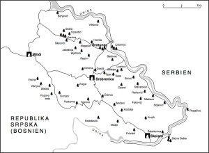 Karte der angegriffenen serbischen Dörfer in der Region Srebrenica-Bratunac