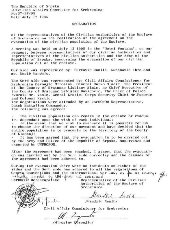 Evakuierungs-Abkommen; UN-Dokument vom 17.07.1995