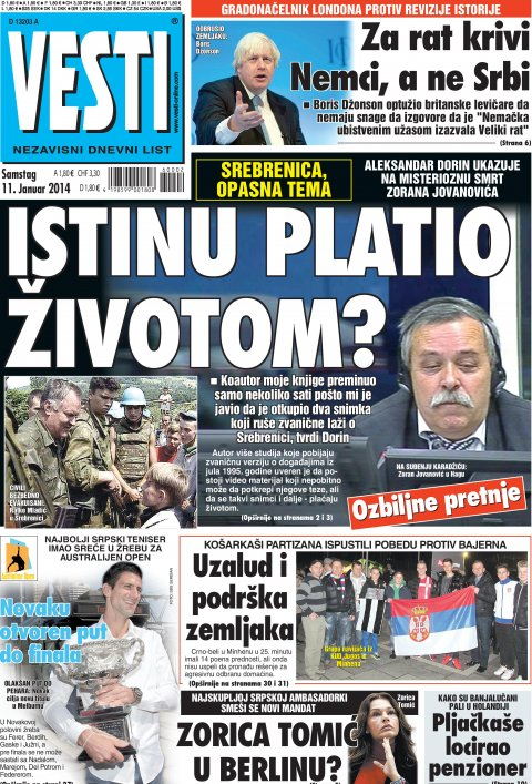 Die grösste serbische Diasporazeitung Vesti berichtete auf der Titelseite über den mysteriösen Tod von Zoran Jovanović