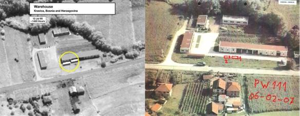 Das Lagerhaus in Kravica (jeweils in der Mitte der Bilder). In der Räumlichkeit kann man unmöglich 1000 - 2000 Menschen unterbringen