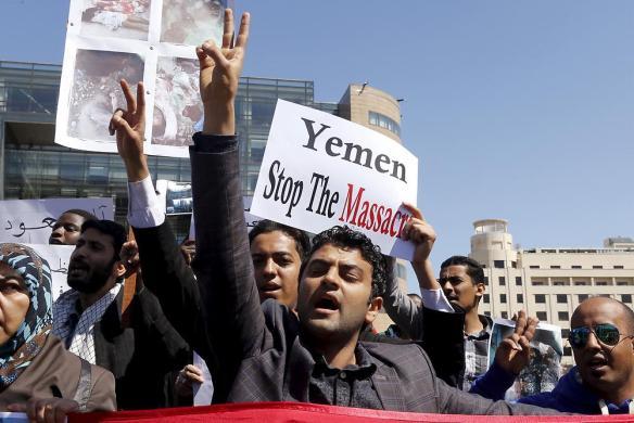 Bildquelle: n-tv.de Studenten im Libanon protestieren gegen die Luftangriffe im Jemen.