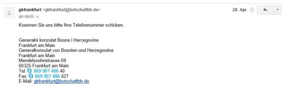 Email 1 aus dem Generalkonsulat von Busnien und Herzegowina