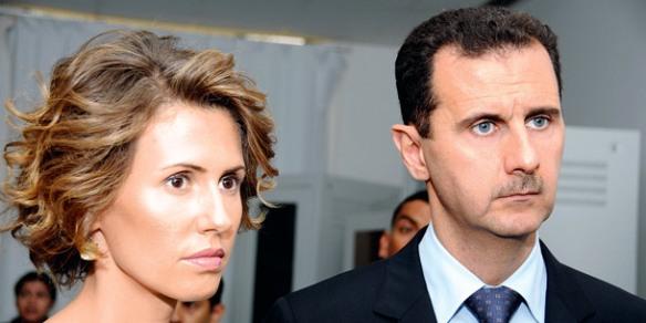 Syriens Präsident Bashar al Assad mit Frau
