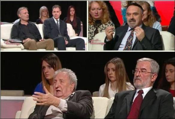 Alexander Dorin (oben links im Bild) während seines Auftritts in der vielgesehenen serbischen Sendung Ćirilica