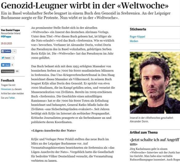 Stachelt moslemische Extremisten an: Hetzartikel gegen Alexander Dorin im Schweizer Tagesanzeiger
