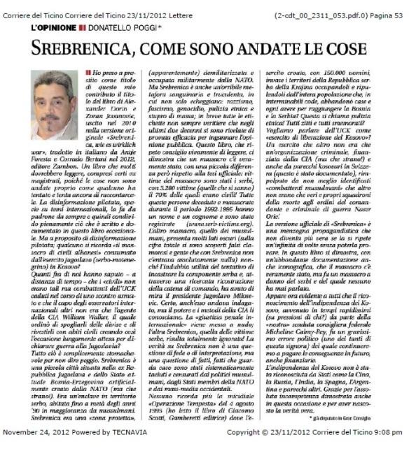 Donnatelli Poggis Artikel im Corriere del Ticiono