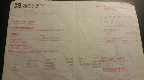 Bankauszahlung Belgrad 2
