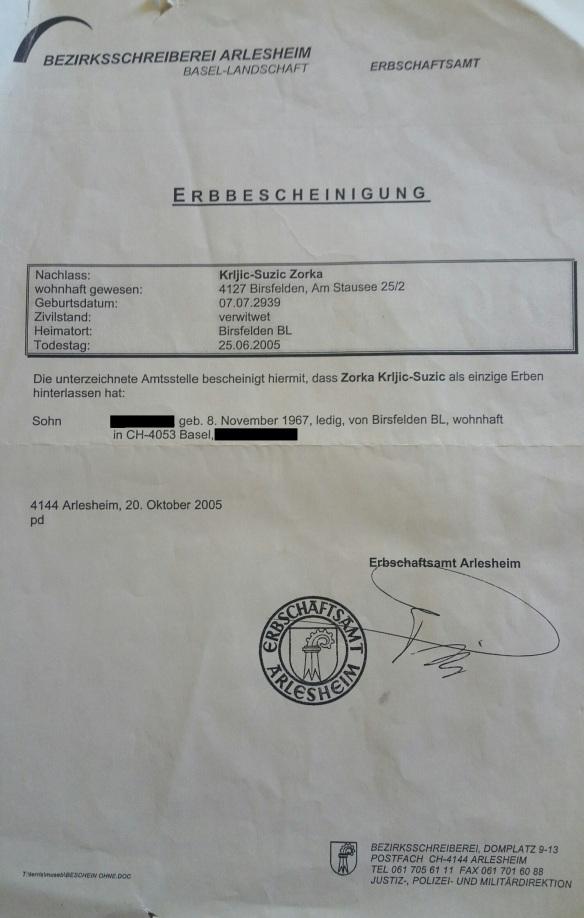 Erbbescheinigung vom 20 Oktober 2005