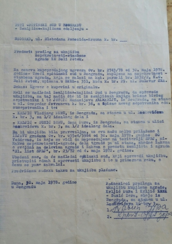 Hauskauf Belgrad 1978