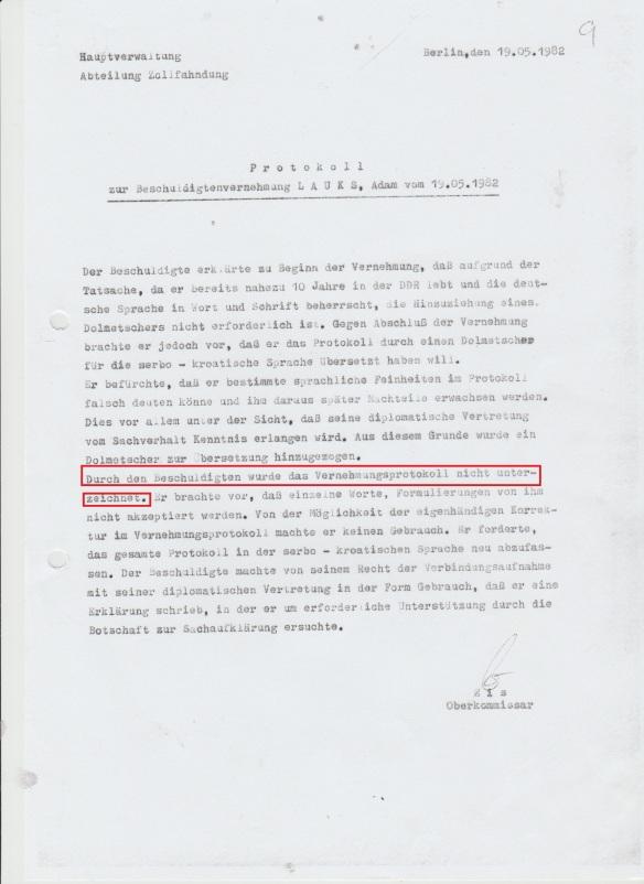Beweis für die Fälschung der Unterschrift für das Gericht