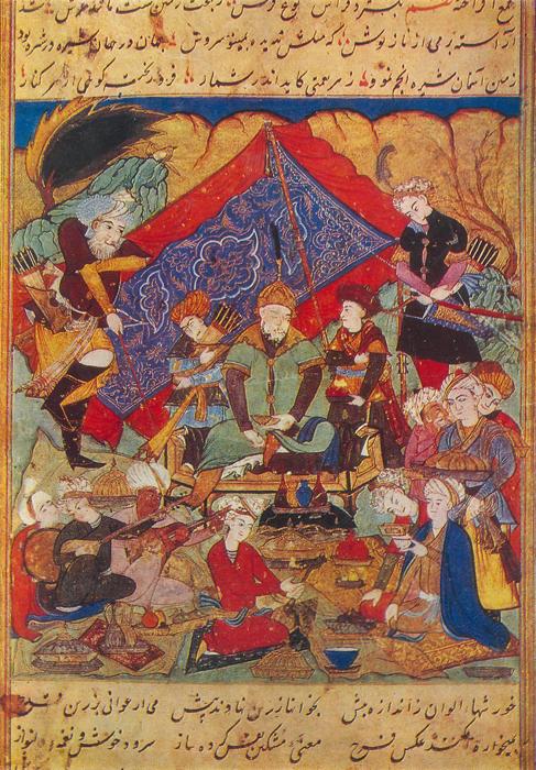 Ein Bild Timurs aus einer Kopie des kurz nach seinem Tod im Umfeld fertiggestellten Zafarnāma