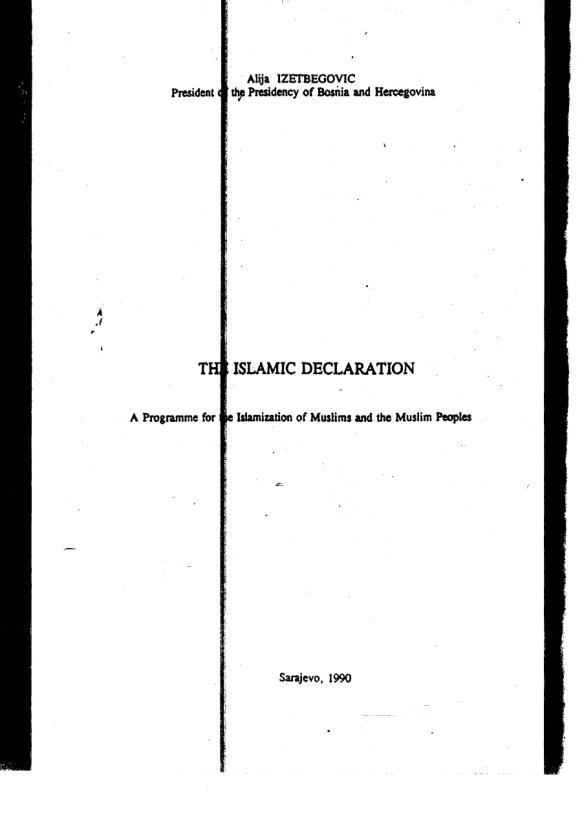 Islamska deklaracija Neuauflage